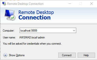 Remote Desktop Connection page with localhost:9999 selected. User name is AWSMAD.local\admin.