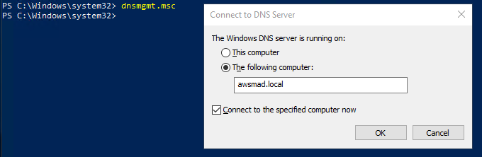 On the Connect to DNS Server dialog box using dnsmgmt.msc, the DNS server is running on awsmad.local.