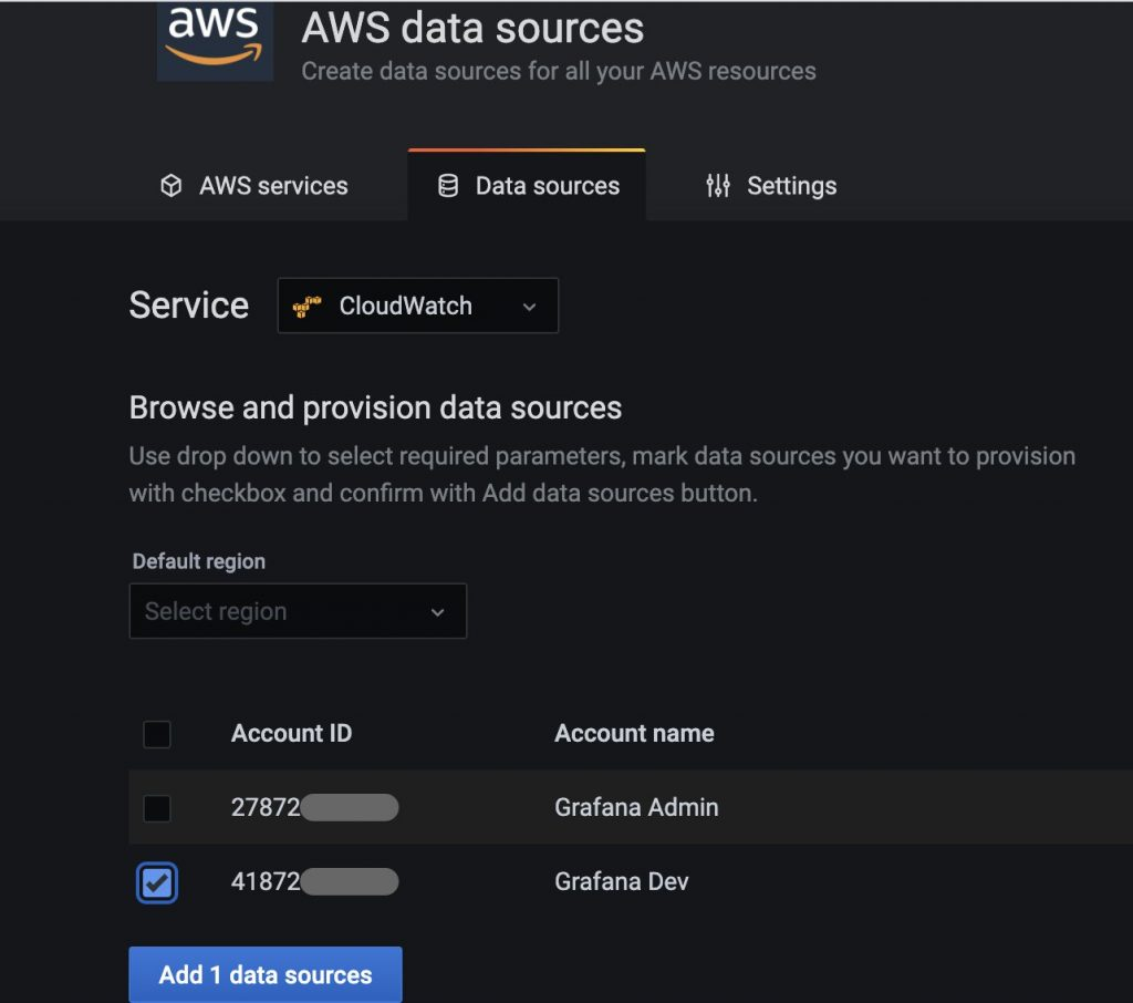 Auto-detected AWS data sources