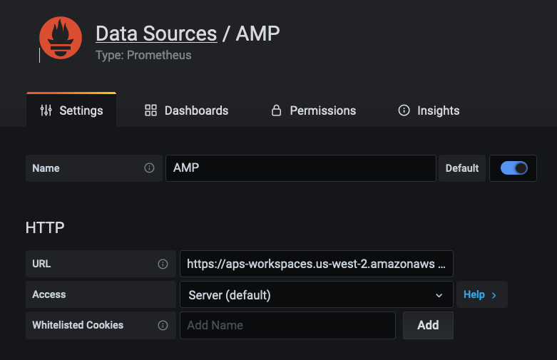 Connecting to AMP datasource manually