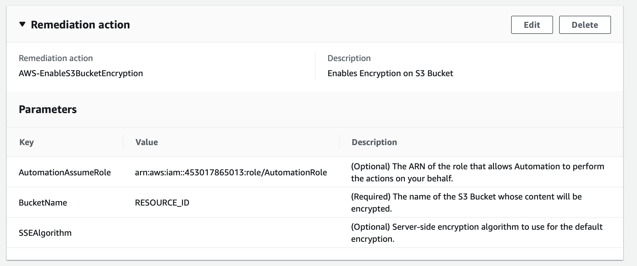 AWS-EnableS3BucketEncryption remediation action enables encryption on an S3 bucket. The Remediation section displays parameters (key, value, and description).