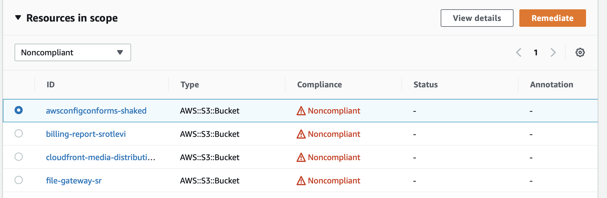On Resources in scope, S3 buckets are filtered to show noncompliant buckets. The awsconfigconforms-shaked bucket is selected.