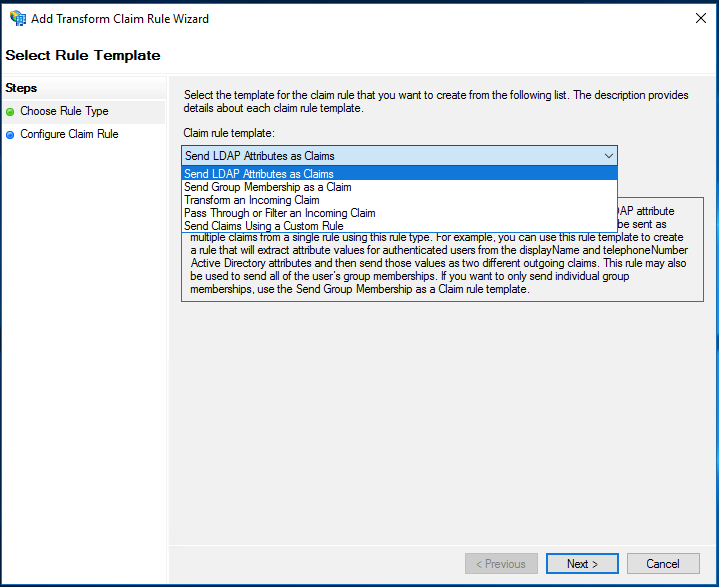 The Select Rule Template page of the Add Transform Claim Rule wizard provides a number of options from the dropdown list, including Send LDAP Attributes as Claims