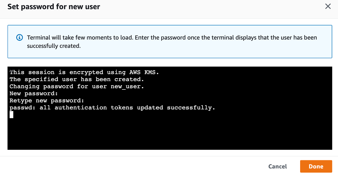In Set password for new user, the user has been created and indicates that all authentication tokens have been updated successfully.