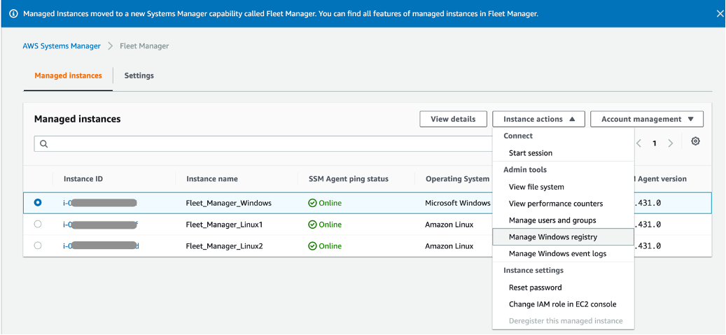 The Fleet_Manager_Windows instance is selected. Manage Windows registry is selected from the Instance actions menu.