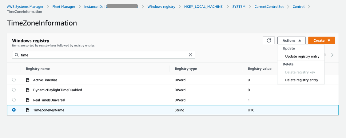 Under Windows registry, TimeZoneKeyName is selected. It has a registry type of String and a registry value of UTC.