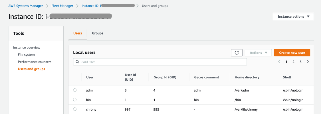Local users displayed for the selected managed instance. The list includes columns for user, user ID, group ID, Gecos comments, home directory, and shell.