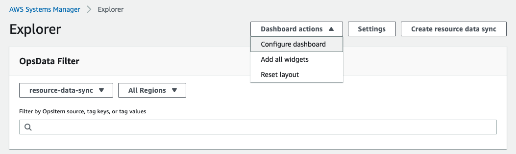 The Explorer page shows dashboard actions that include Configure dashboard, Add all widgets, and Reset layout.