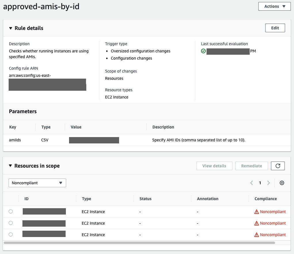 The approved-amis-by-id rule checks whether running instances are using specified AMIs. It is triggered upon configuration changes and has three noncompliant EC2 instances.