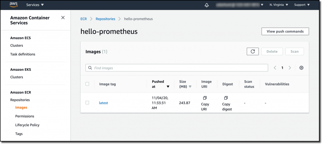 On the hello-prometheus page, under Images, there are columns for Image tag, Pushed at, Size (MB), Image URI, Scan status, and Vulnerabilities.