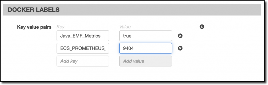 The Docker labels for the Fargate task are Java_EMF_Metrics with a value of true and ECS_PROMETHEUS_EXPORTER_PORT with a value of 9404.