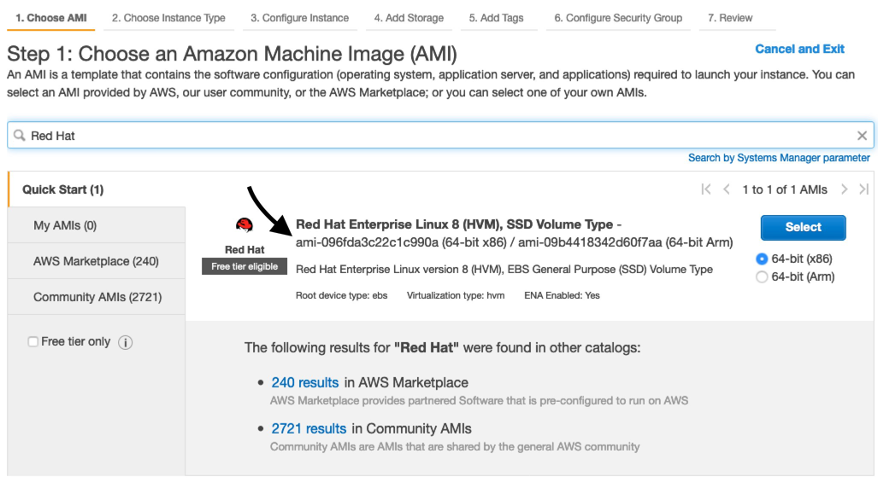"On the Choose an Amazon Machine Image page, the words ""Red Hat"" are entered into the search box, which returns Red Hat Enterprise Linux 8 (HVM), SSD Volume Type."