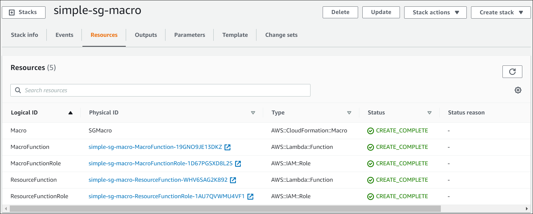 The Stack Details page displays columns for logical ID, physical ID, type, and status for Macro, MacroFunction, MacroFunctionRole, ResourceFunction, and ResourceFunctionRole.
