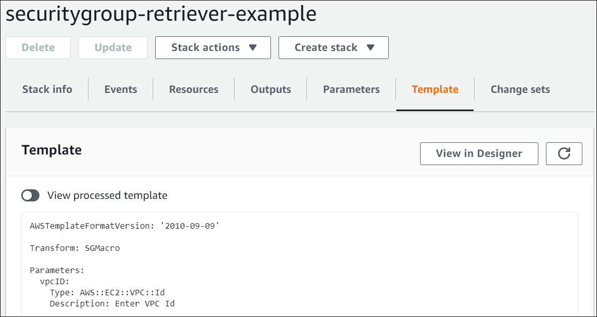 On the Stack Details page, the toggle option to view the processed securitygroup-retriever-example template is selected.