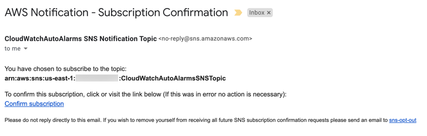 The Amazon SNS subscription confirmation email for the email address that was entered includes a Confirm subscription link.