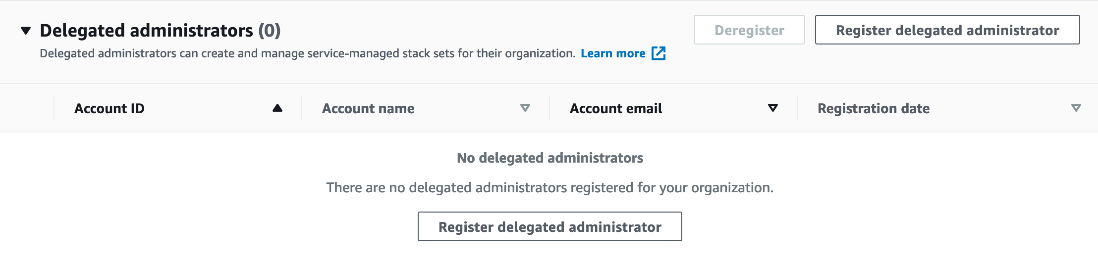 Shows a portion of the delegated administrators web page