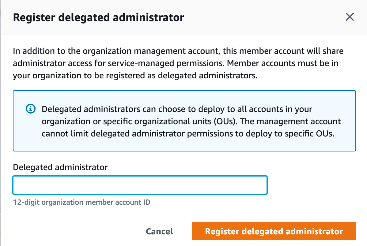 Shows the page to register a delegated administrator