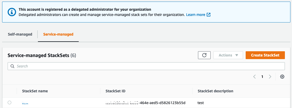 Shows what service-managed StackSets look like from the new administrator
