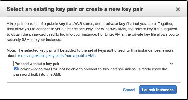 The Select an existing key pair or create a new key pair page shows Proceed without a key pair is selected from the dropdown.