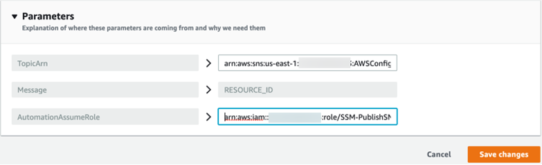 In Parameters, the AutomationAssumeRole and TopicArn key and value sets for the AWS-PublishSNSNotification remediation action are displayed