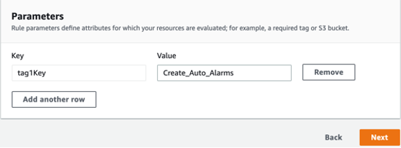 The Parameters page displays a read-only parameter key named tag1Key and a parameter value with Create_Auto_Alarms. A Remove button is displayed next to the parameter key and value and Next button is displayed in the lower right hand corner.