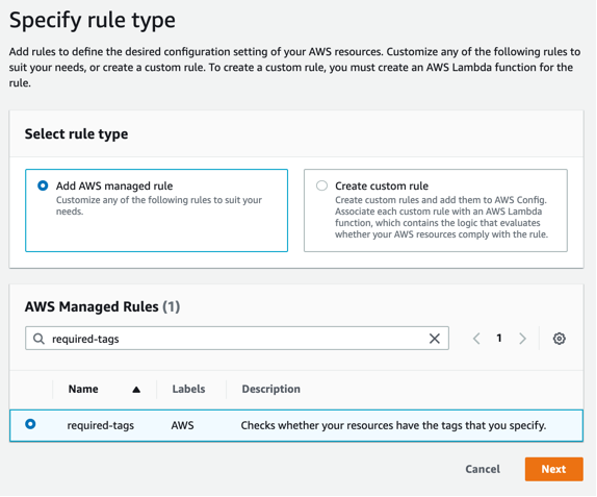 The Add rule page displays an Add AWS managed rule button and a search box. required-tags is entered in the search box and the required-tags predefined rule is displayed and selected below.