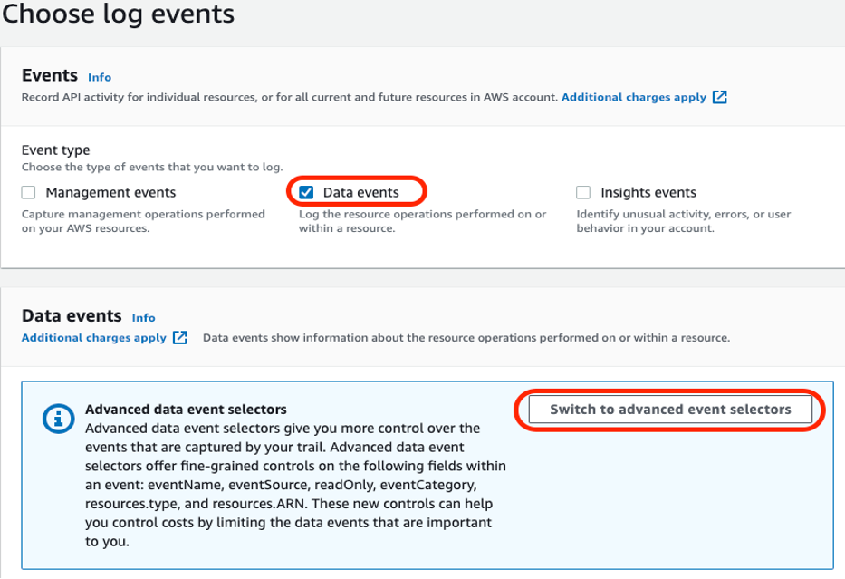 Figure 3: Selecting data events and advanced event selectors
