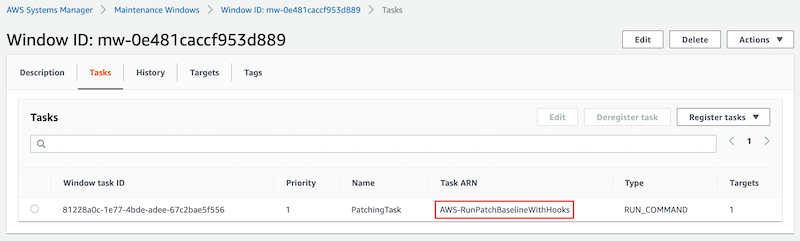 Under Tasks, a windows task ID named PatchingTask with a priority of 1 and a type of RUN-COMMAND is displayed. Its task ARN is AWS-RunPatchBaselineWithHooks.