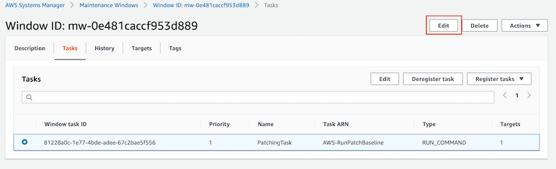 The window task named PatchingTask with a priority of 1 and a type of RUN_COMMAND is selected.