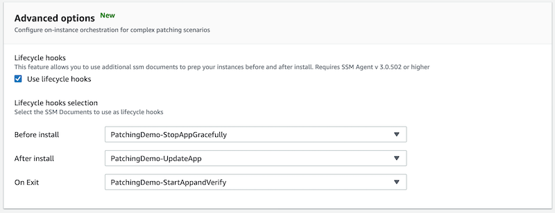Under Lifecycle hooks selection, for Before install, PatchingDemo-StopAppGracefully is selected. For After install, PatchingDemo-UpdateApp is selected. For On Exit, PatchingDemo-StartAppandVerify is selected.