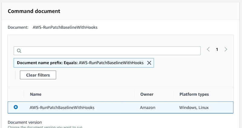 AWS-RunPatchBaselineWithHooks is selected. Its owner is Amazon. Its platform types are Windows and Linux.