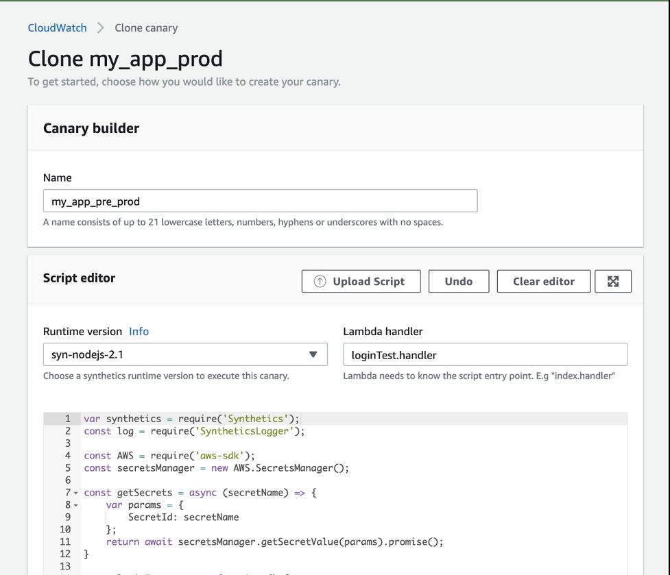 The name entered under Canary builder is my_app_pre_prod. Under Runtime version, syn-nodejs-2.1 is entered. Under Lambda handler, loginTest.handler is entered