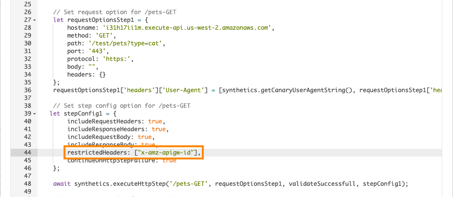 In the canary script, in restrictedHeaders, [x-amz-apigw-id] appears in the configuration for /pets-GET.