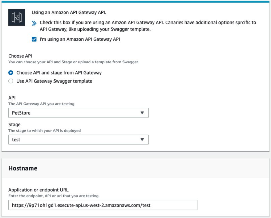 The Application or endpoint URL field is populated based on selections in the API and Stage fields.