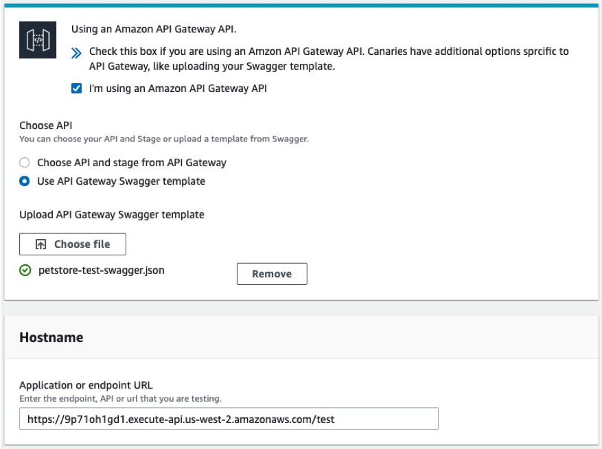 Under Choose API, the Use API Gateway Swagger template option is selected. The Application or endpoint URL field is populated based on the Swagger template, petstore-test-swagger.json.