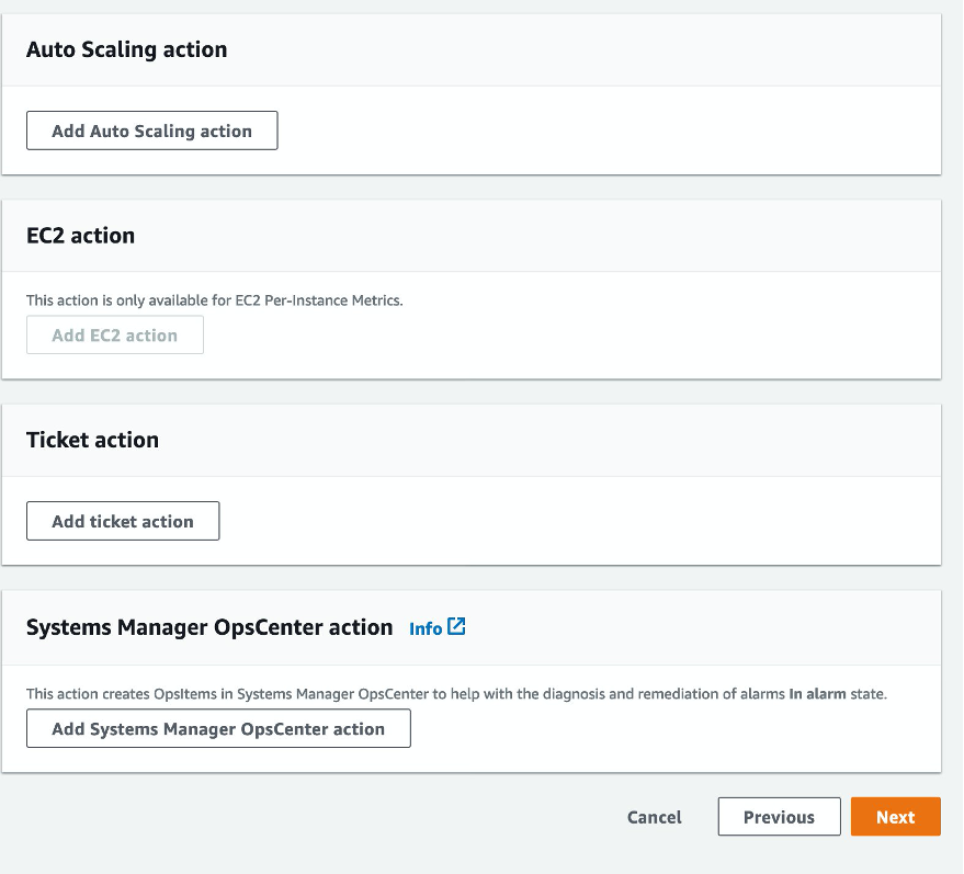 CloudWatch alarms can be configured to trigger notifications and actions for Auto Scaling, instance level, ticketing, and Systems Manager.