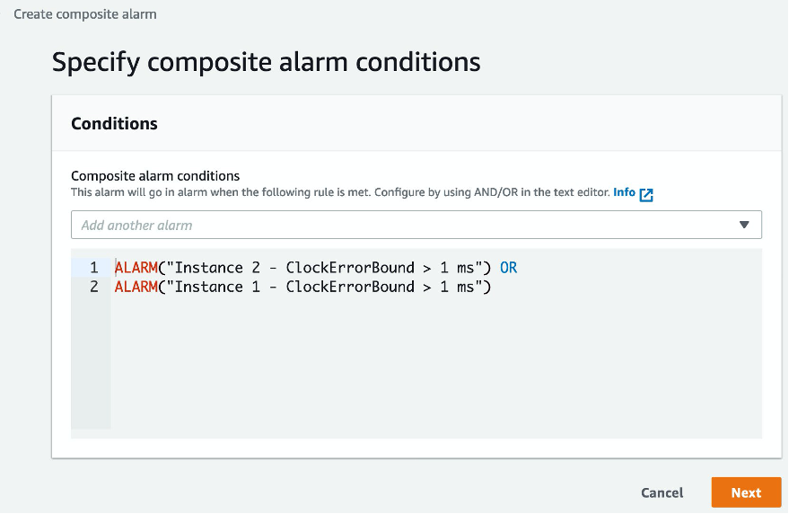Composite alarm conditions are rules built using and/or operations.
