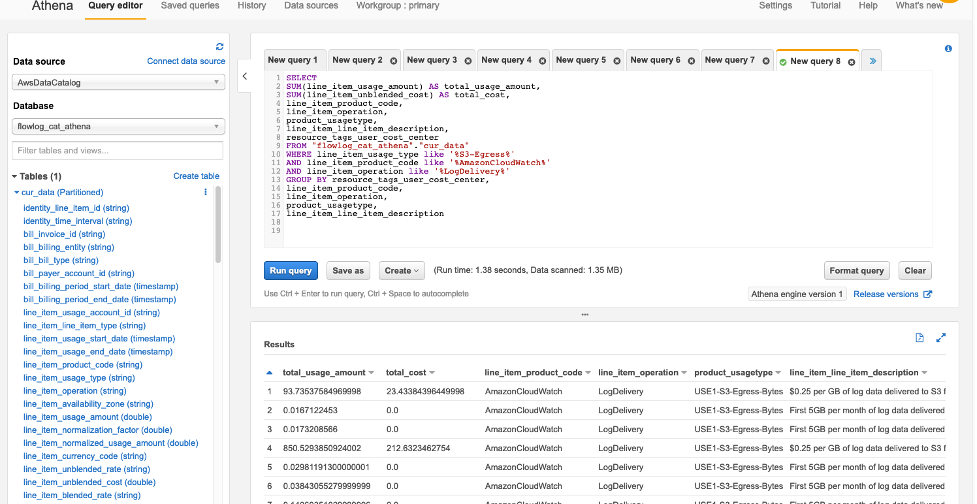 Query editor in Amazon Athena console displays sample queries and the tables derived from the AWS Cost and Usage Reports.