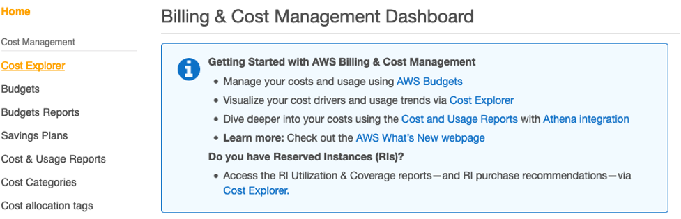 The left navigation pane displays Cost Management, Cost Explorer, Budgets, Budgets Reports, Savings Plans, Cost and Usage Reports, Cost Categories, and Cost allocation tags.