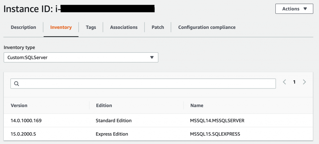 On the Inventory tab, Custom:SQLServer is selected from the Inventory type list. The list includes columns for version, edition, and name.