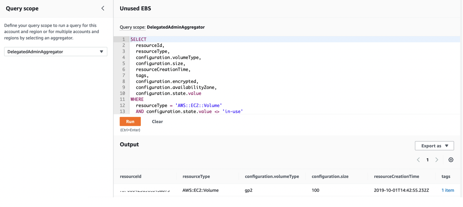 The Query scope is set to DelegatedAdminAggregator. The code window displays a sample query to list all EBS volumes that are not in use.