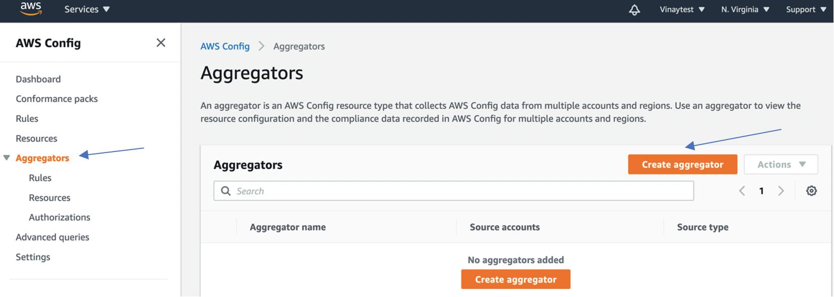 The Aggregators page provides a search field and a Create aggregator button.