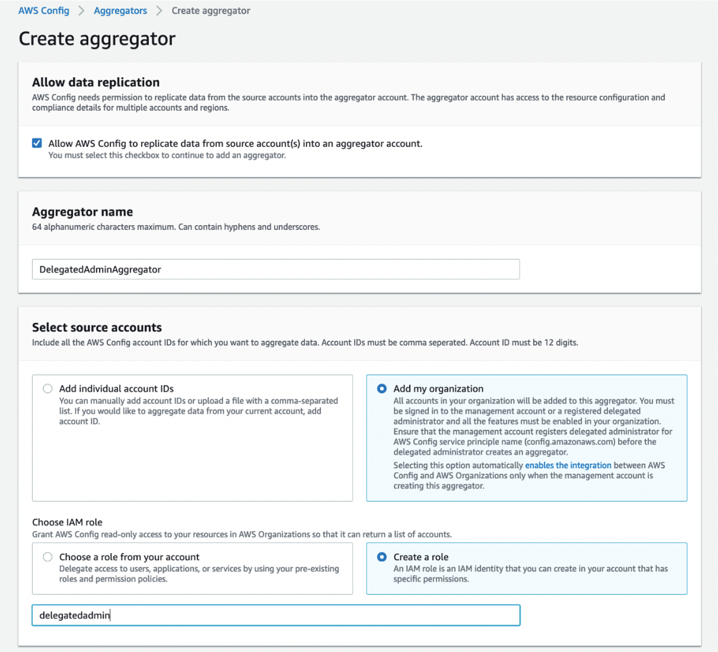 Create aggregator page displays fields selected and completed as described in the body of the post.