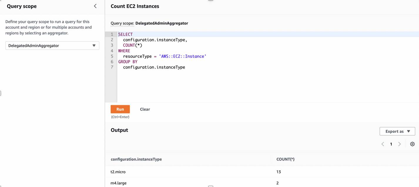 The Query scope is set to DelegatedAdminAggregator. The code window displays a sample query to count the number of EC2 instances and group them by instance type.