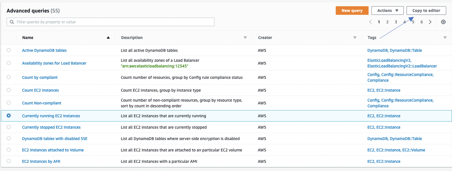 Under Advanced queries, Currently running EC2 Instances is selected.