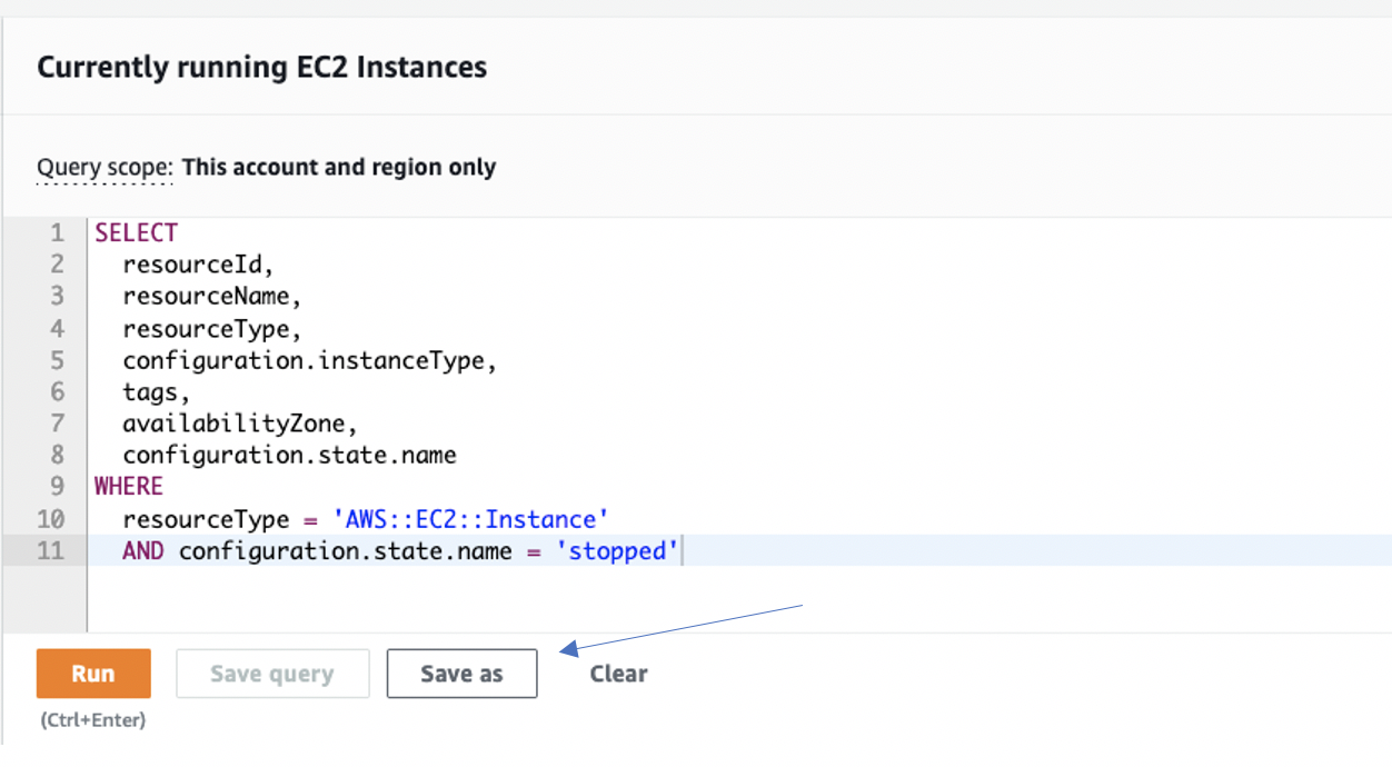 Query scope is set to This account and region only. The configuration state name value has been changed to stopped.