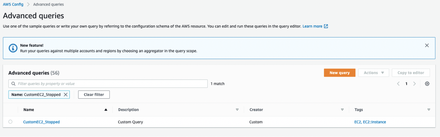 The CustomEC2_Stopped custom query now appears in the Advanced queries list.