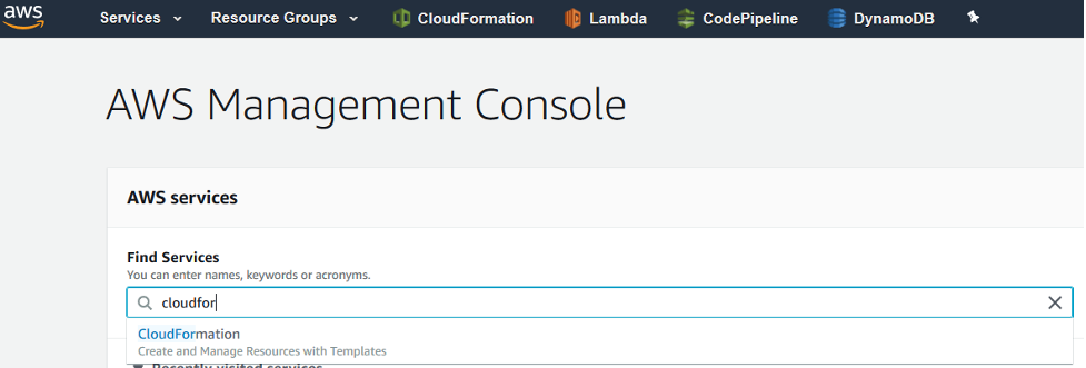 The AWS Management Console provides a search field you can use to find AWS services.