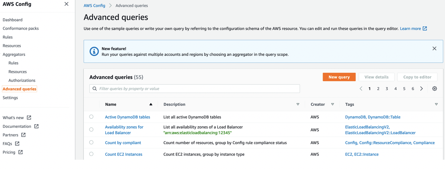 There are 55 advanced queries in the list, including Active DynamoDB tables, Availability zones for Load Balancer, Count by compliant, and Count EC2 Instances.