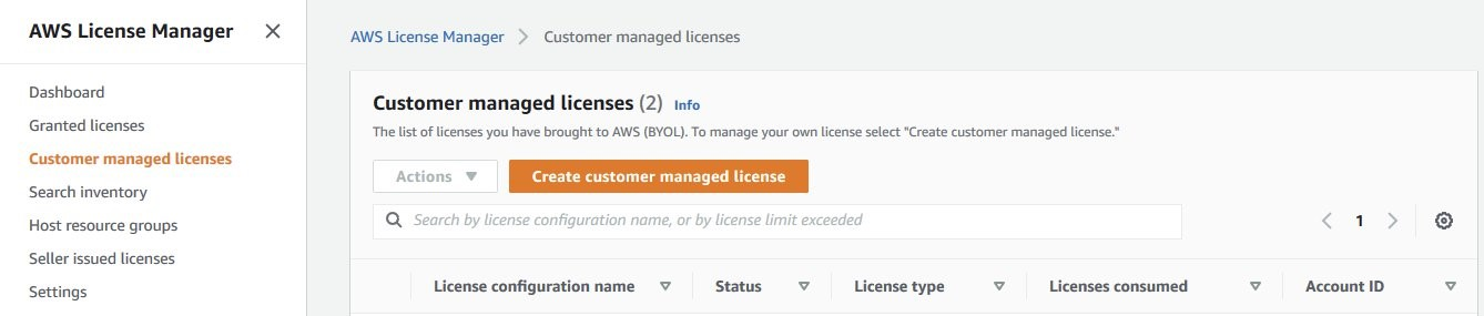 The Customer managed licenses page lists BYOL licenses. It includes an Actions menu and a Create customer managed license button.